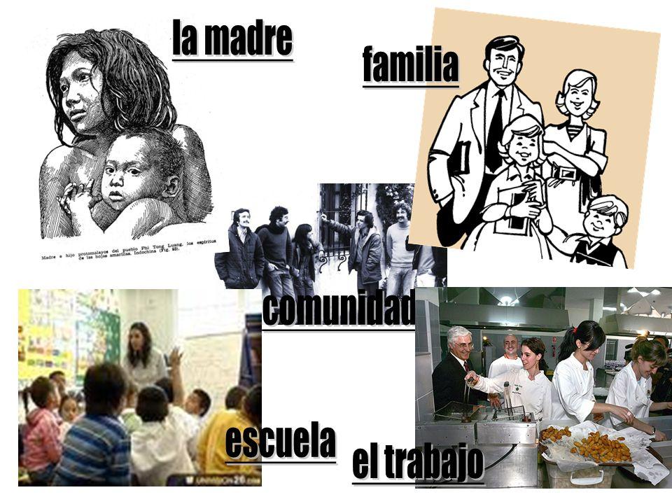 la madre familia comunidad escuela el trabajo