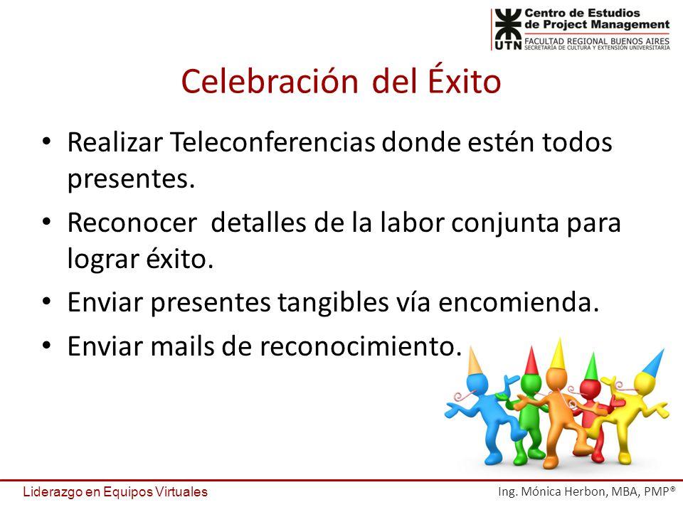 Celebración del Éxito Realizar Teleconferencias donde estén todos presentes. Reconocer detalles de la labor conjunta para lograr éxito.