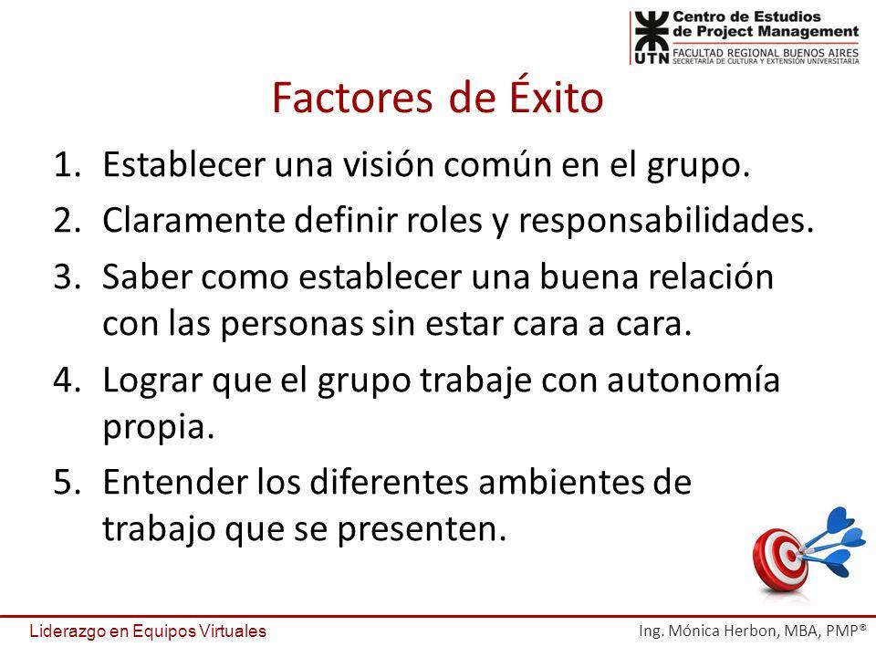 Factores de Éxito Establecer una visión común en el grupo.