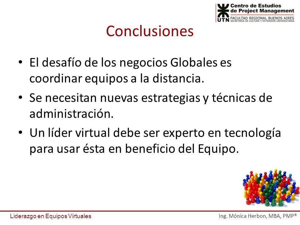 Conclusiones El desafío de los negocios Globales es coordinar equipos a la distancia. Se necesitan nuevas estrategias y técnicas de administración.