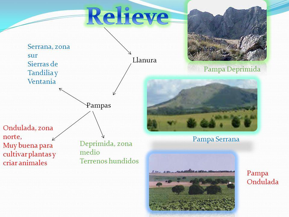 Relieve Serrana, zona sur Sierras de Tandilia y Ventania Llanura