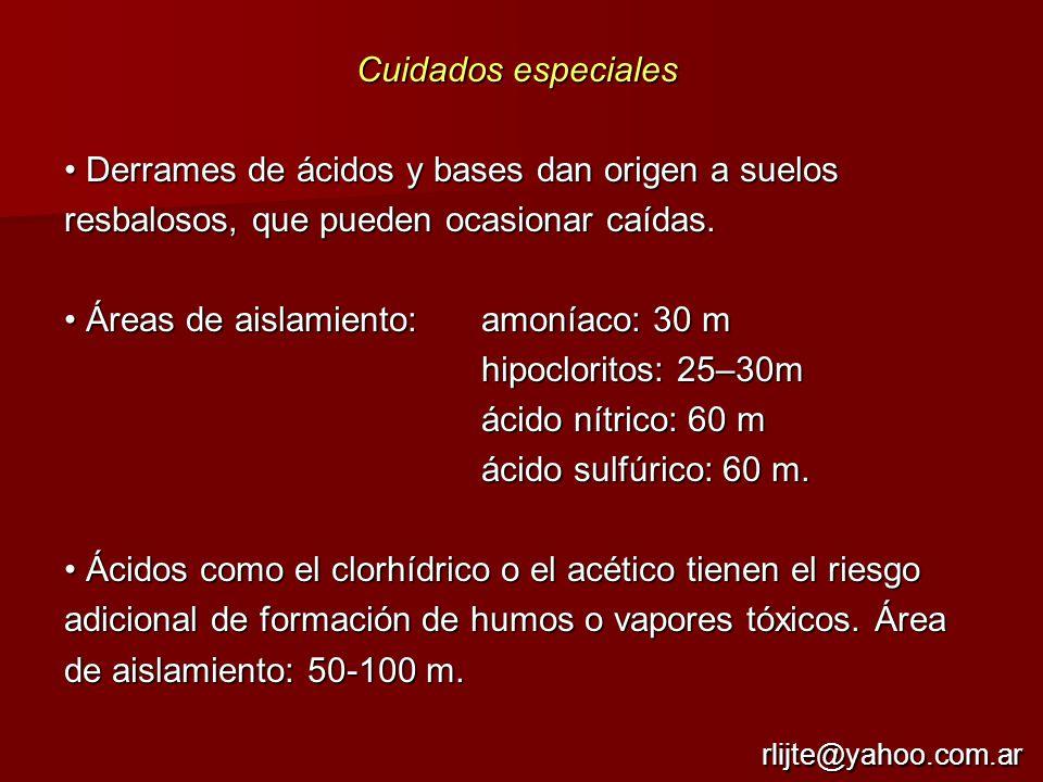 Áreas de aislamiento: amoníaco: 30 m hipocloritos: 25–30m