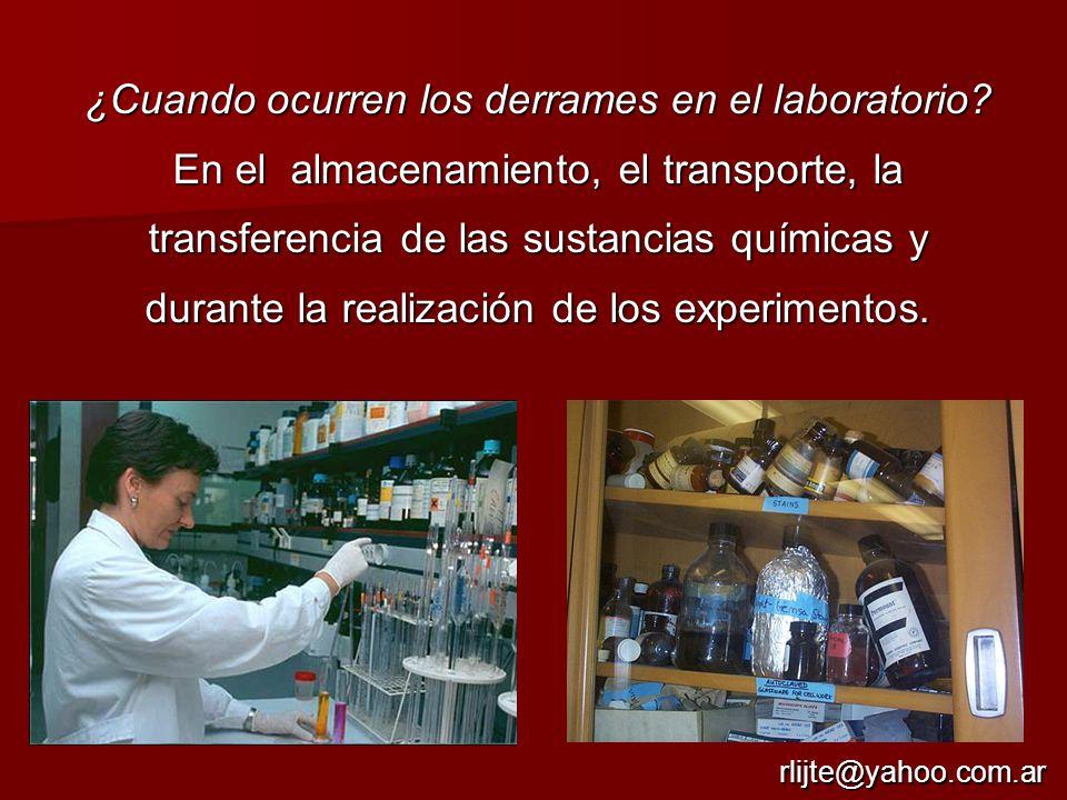 ¿Cuando ocurren los derrames en el laboratorio
