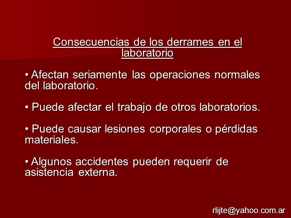 Consecuencias de los derrames en el laboratorio