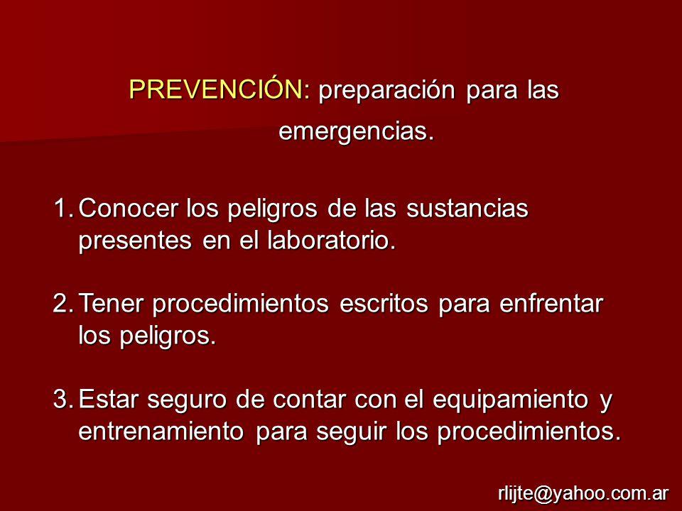PREVENCIÓN: preparación para las emergencias.