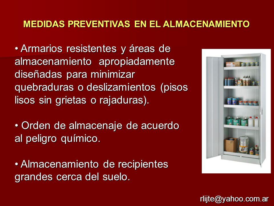 • Orden de almacenaje de acuerdo al peligro químico.
