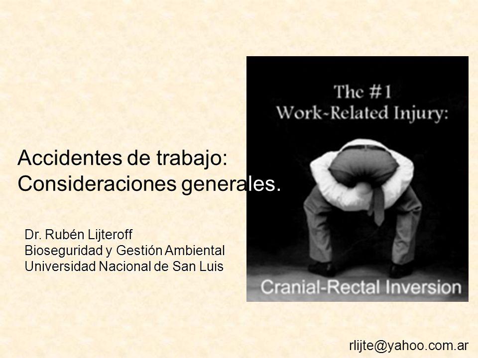 Accidentes de trabajo: Consideraciones generales.