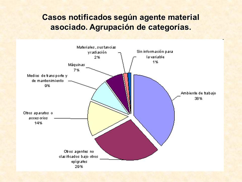 Casos notificados según agente material asociado