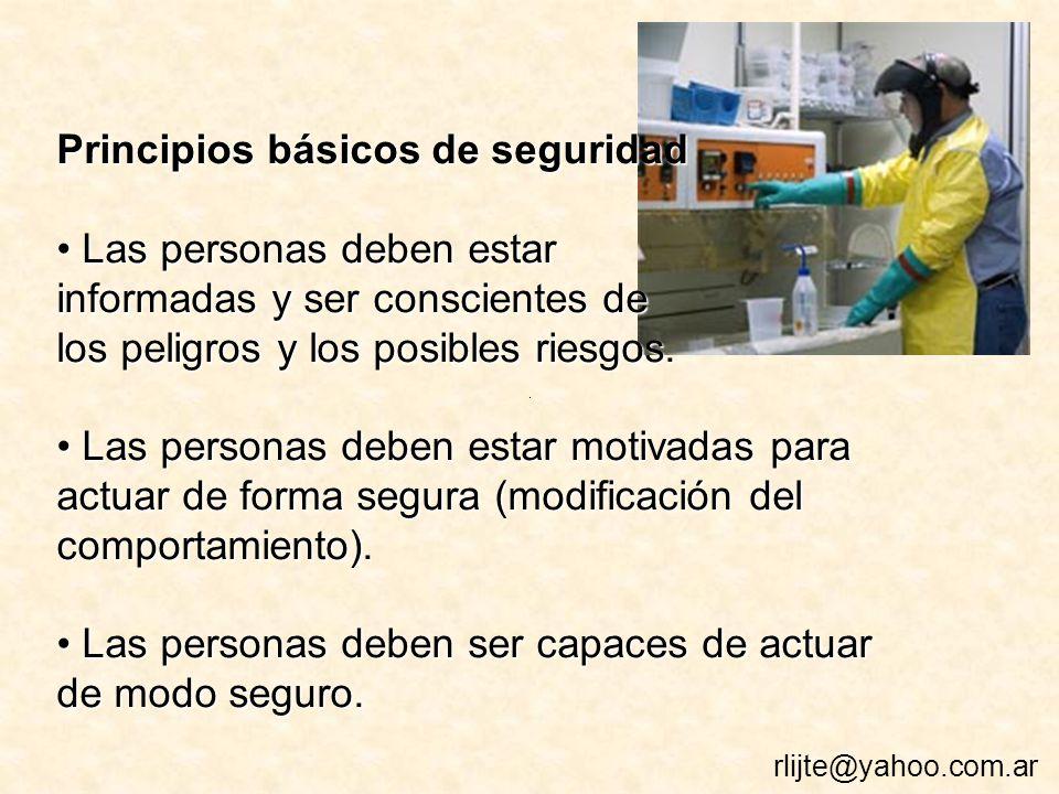 Principios básicos de seguridad Las personas deben estar