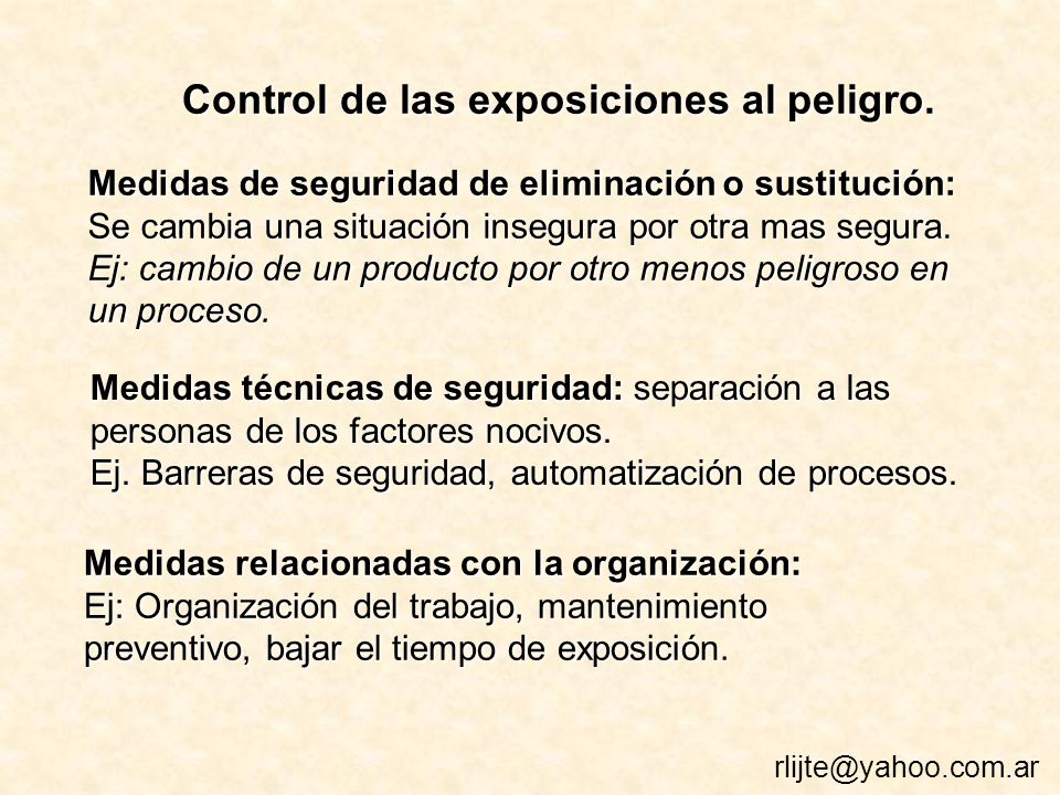 Control de las exposiciones al peligro.