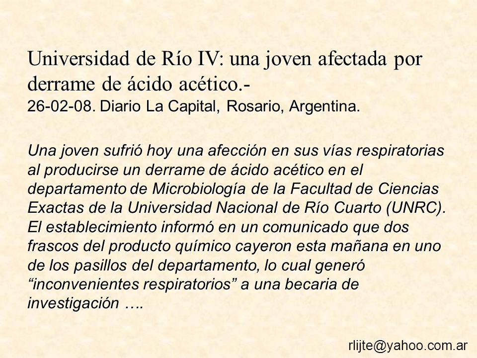 Universidad de Río IV: una joven afectada por derrame de ácido acético