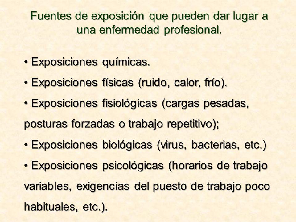 Fuentes de exposición que pueden dar lugar a una enfermedad profesional.