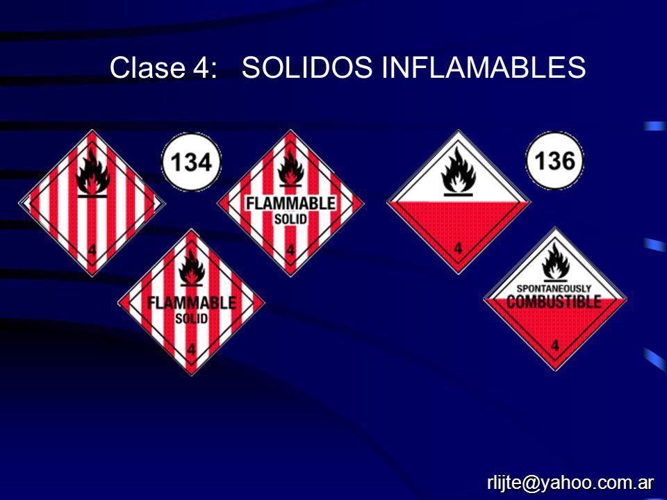 Clase 4: SOLIDOS INFLAMABLES