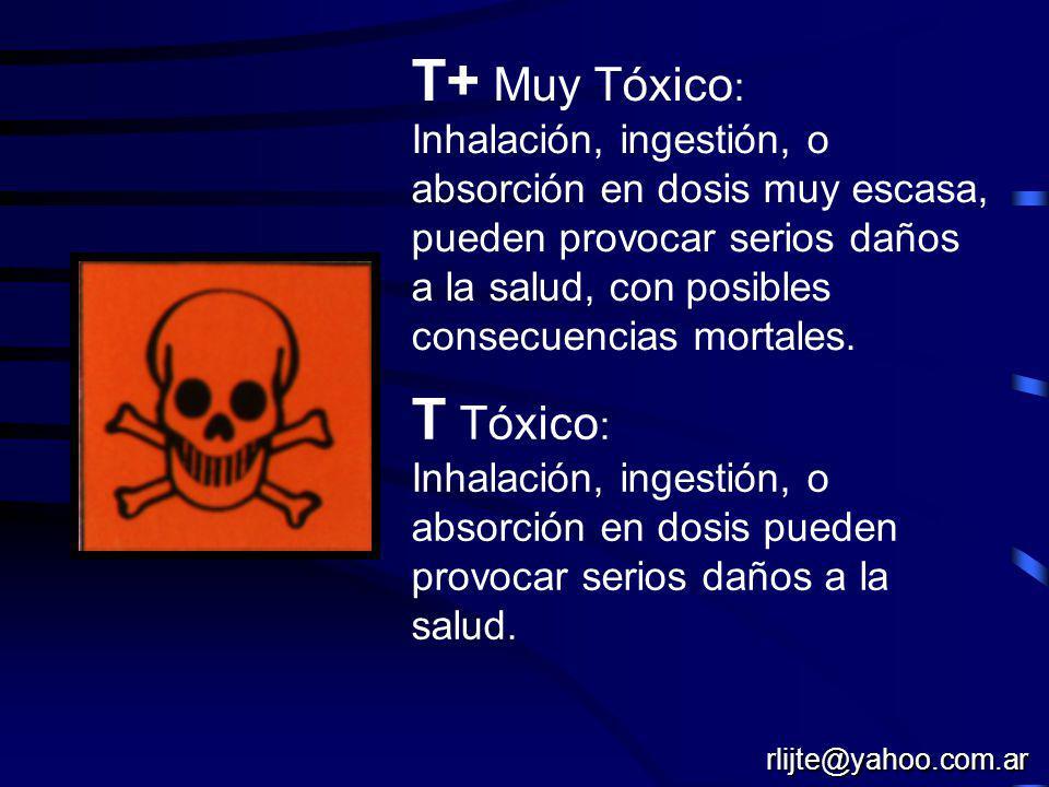 T+ Muy Tóxico: T Tóxico: