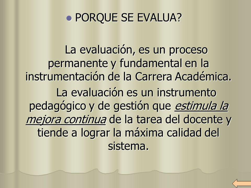 PORQUE SE EVALUA La evaluación, es un proceso permanente y fundamental en la instrumentación de la Carrera Académica.