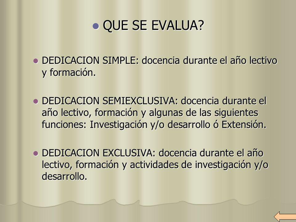 QUE SE EVALUA DEDICACION SIMPLE: docencia durante el año lectivo y formación.