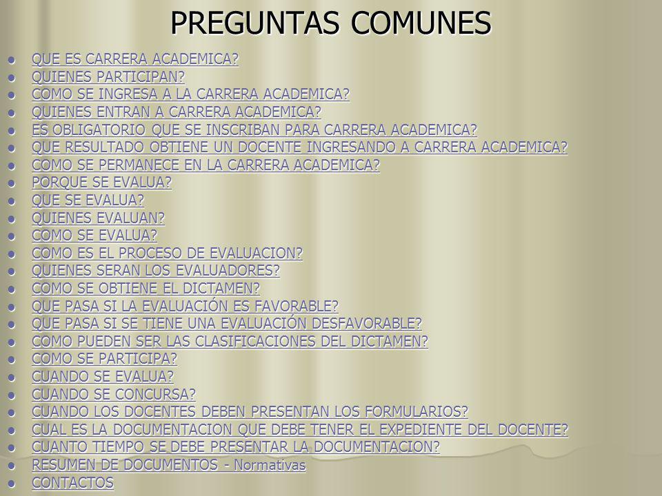 PREGUNTAS COMUNES QUE ES CARRERA ACADEMICA QUIENES PARTICIPAN