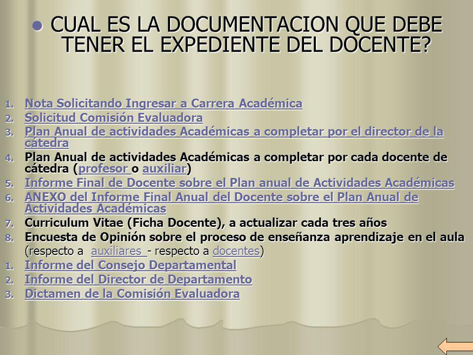 CUAL ES LA DOCUMENTACION QUE DEBE TENER EL EXPEDIENTE DEL DOCENTE