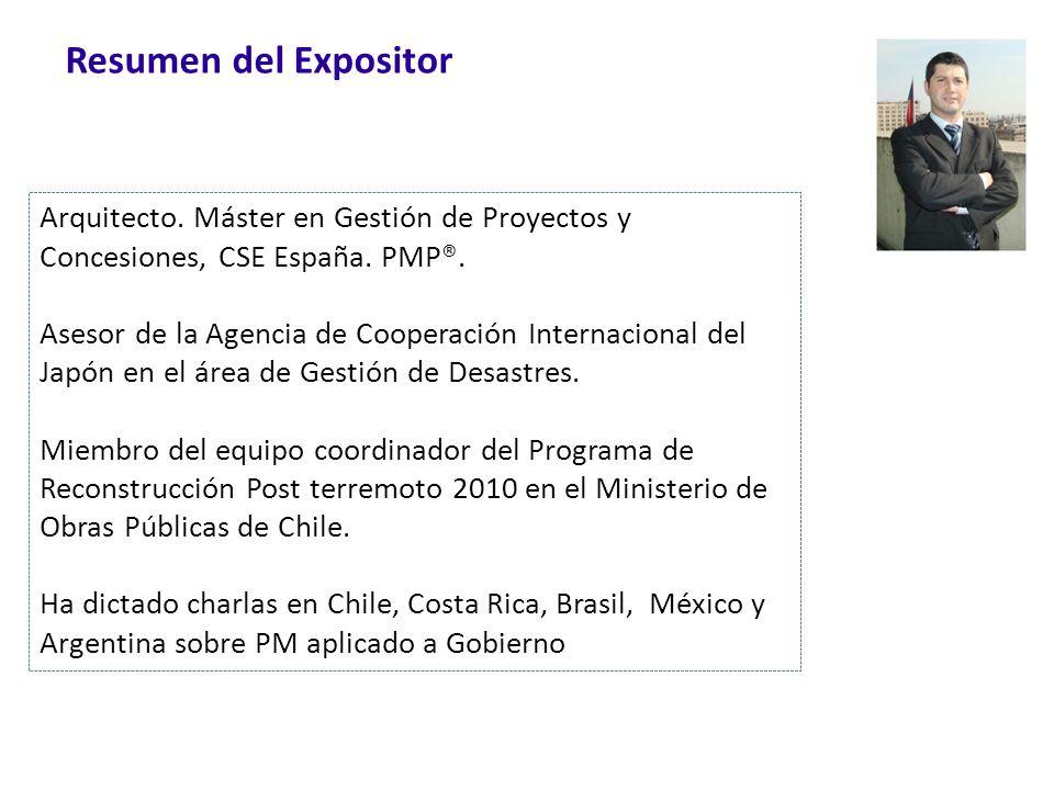 Resumen del Expositor Arquitecto. Máster en Gestión de Proyectos y Concesiones, CSE España. PMP®.