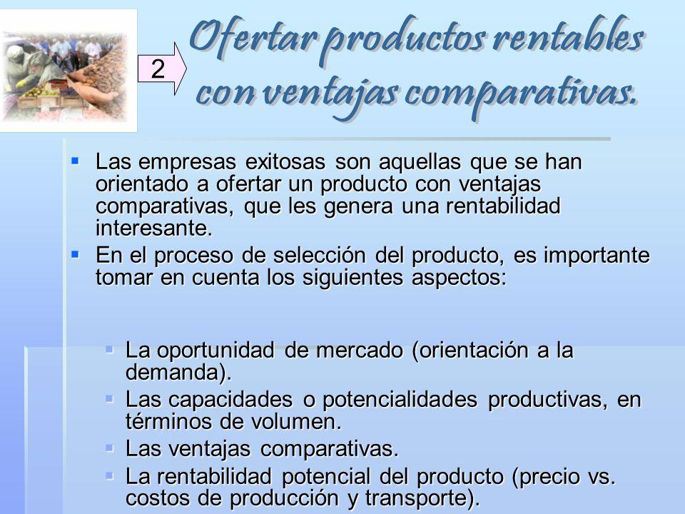 Ofertar productos rentables con ventajas comparativas.