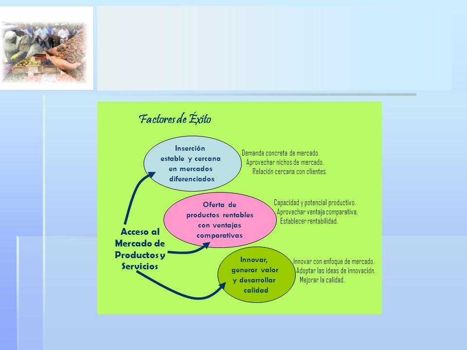 Factores de Éxito Acceso al Mercado de Productos y Servicios Inserción