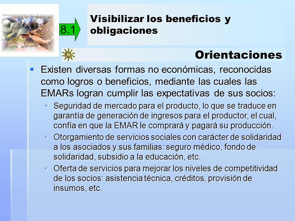 8.1 Orientaciones Visibilizar los beneficios y obligaciones