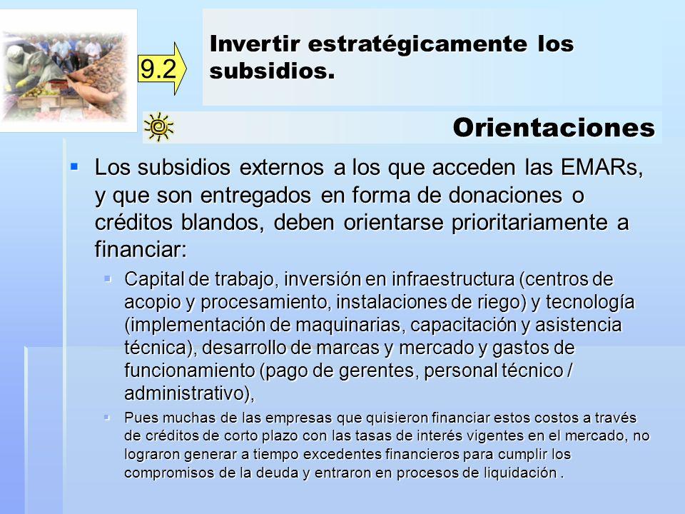 9.2 Orientaciones Invertir estratégicamente los subsidios.