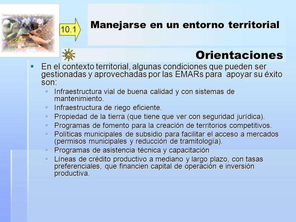 Orientaciones Manejarse en un entorno territorial 10.1
