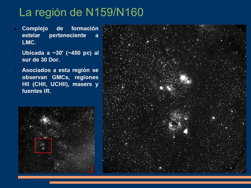 La región de N159/N160 Complejo de formación estelar perteneciente a LMC. Ubicada a ~30 (~450 pc) al sur de 30 Dor.