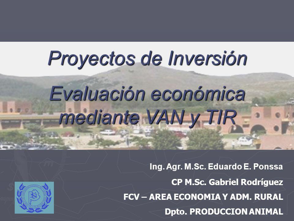 Proyectos de Inversión Evaluación económica mediante VAN y TIR