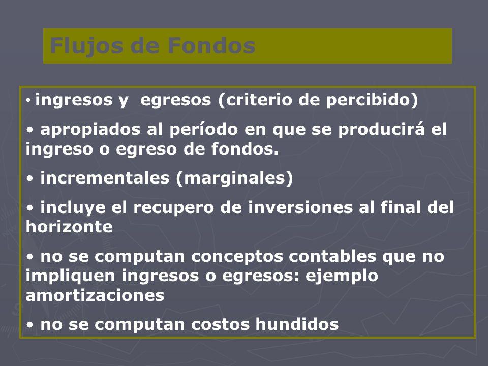 Flujos de Fondos ingresos y egresos (criterio de percibido)