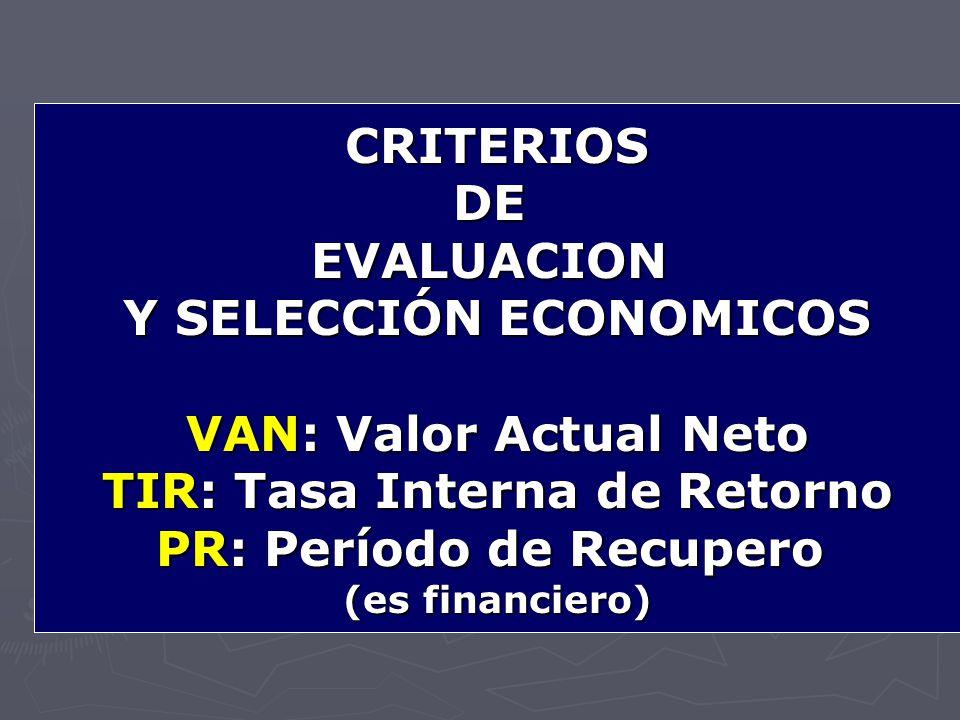 Y SELECCIÓN ECONOMICOS VAN: Valor Actual Neto