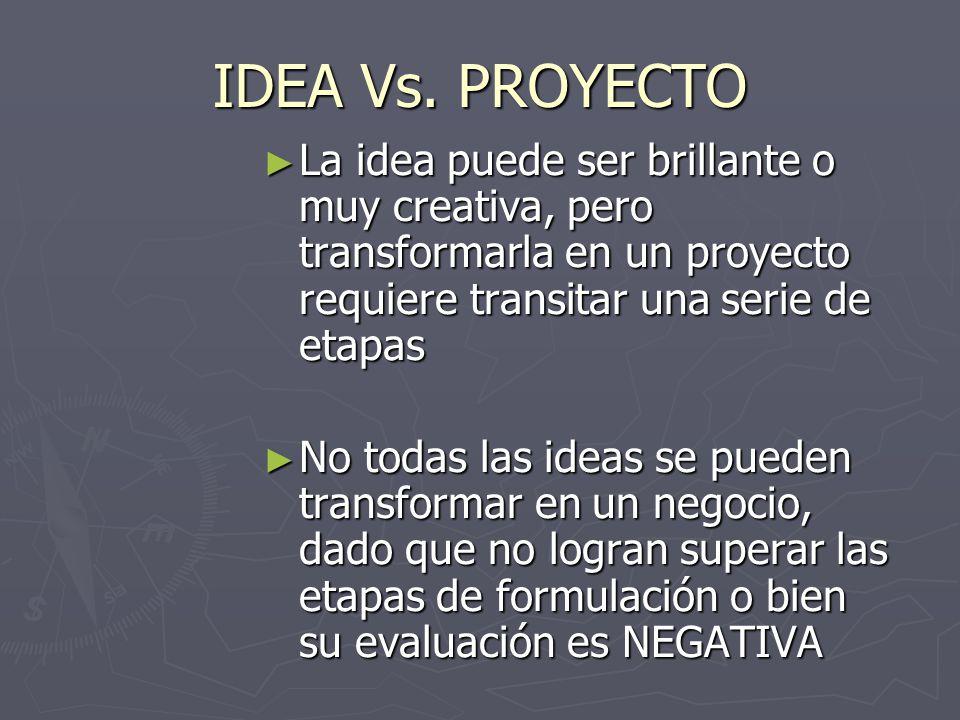 IDEA Vs. PROYECTO La idea puede ser brillante o muy creativa, pero transformarla en un proyecto requiere transitar una serie de etapas.