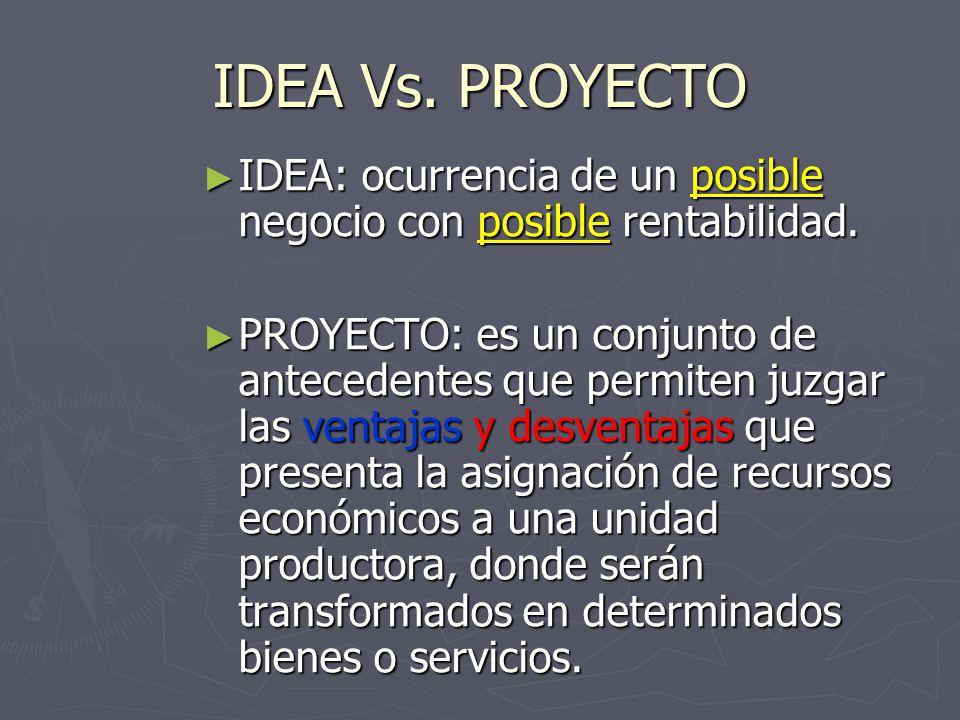 IDEA Vs. PROYECTO IDEA: ocurrencia de un posible negocio con posible rentabilidad.