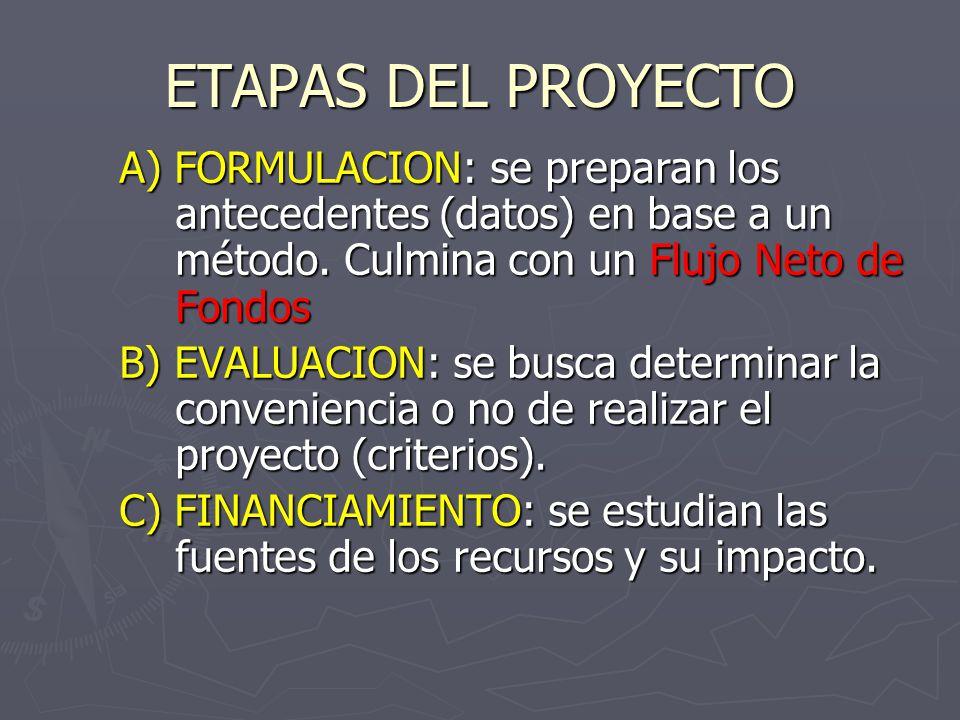 ETAPAS DEL PROYECTO A) FORMULACION: se preparan los antecedentes (datos) en base a un método. Culmina con un Flujo Neto de Fondos.