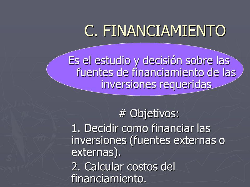 C. FINANCIAMIENTO Es el estudio y decisión sobre las fuentes de financiamiento de las inversiones requeridas.