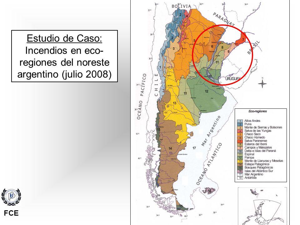 Incendios en eco-regiones del noreste argentino (julio 2008)