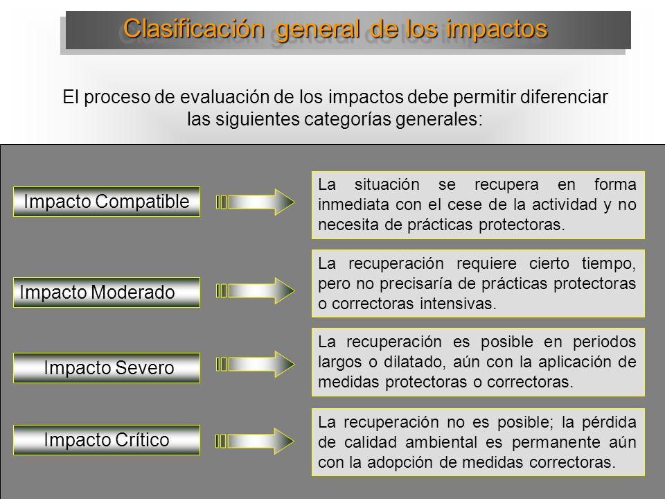 Clasificación general de los impactos