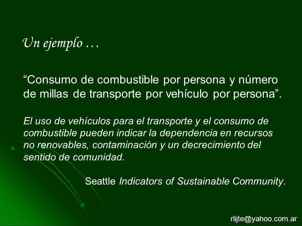 Un ejemplo … Consumo de combustible por persona y número de millas de transporte por vehículo por persona .
