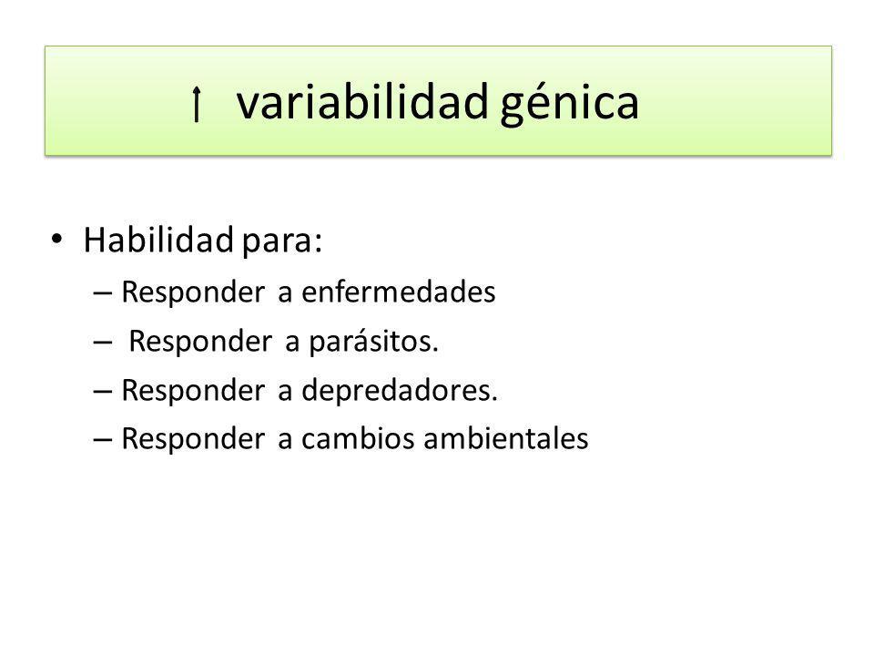 variabilidad génica Habilidad para: Responder a enfermedades