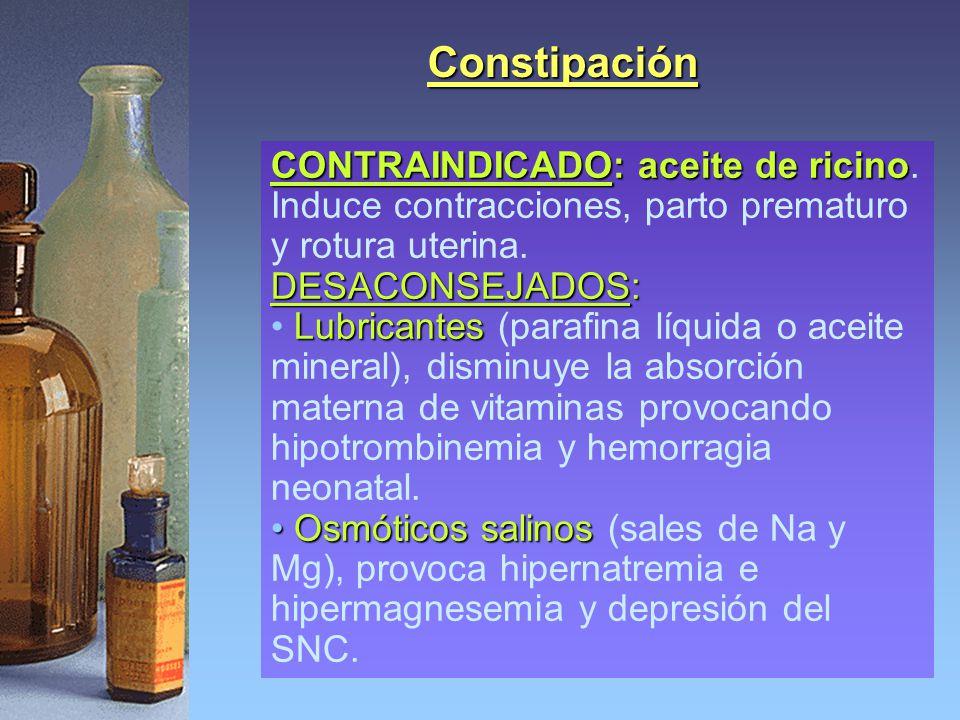 Constipación CONTRAINDICADO: aceite de ricino. Induce contracciones, parto prematuro y rotura uterina.