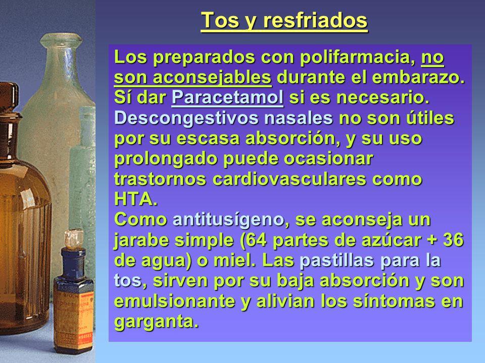 Tos y resfriados Los preparados con polifarmacia, no son aconsejables durante el embarazo. Sí dar Paracetamol si es necesario.