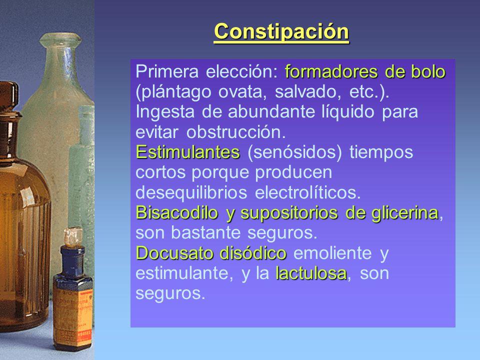 Constipación Primera elección: formadores de bolo (plántago ovata, salvado, etc.). Ingesta de abundante líquido para evitar obstrucción.