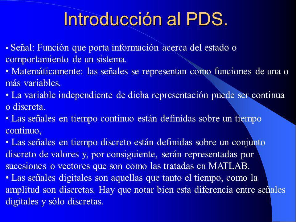 Introducción al PDS. Señal: Función que porta información acerca del estado o comportamiento de un sistema.