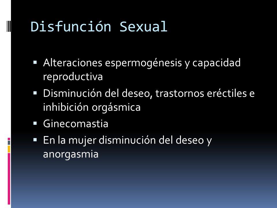 Disfunción Sexual Alteraciones espermogénesis y capacidad reproductiva
