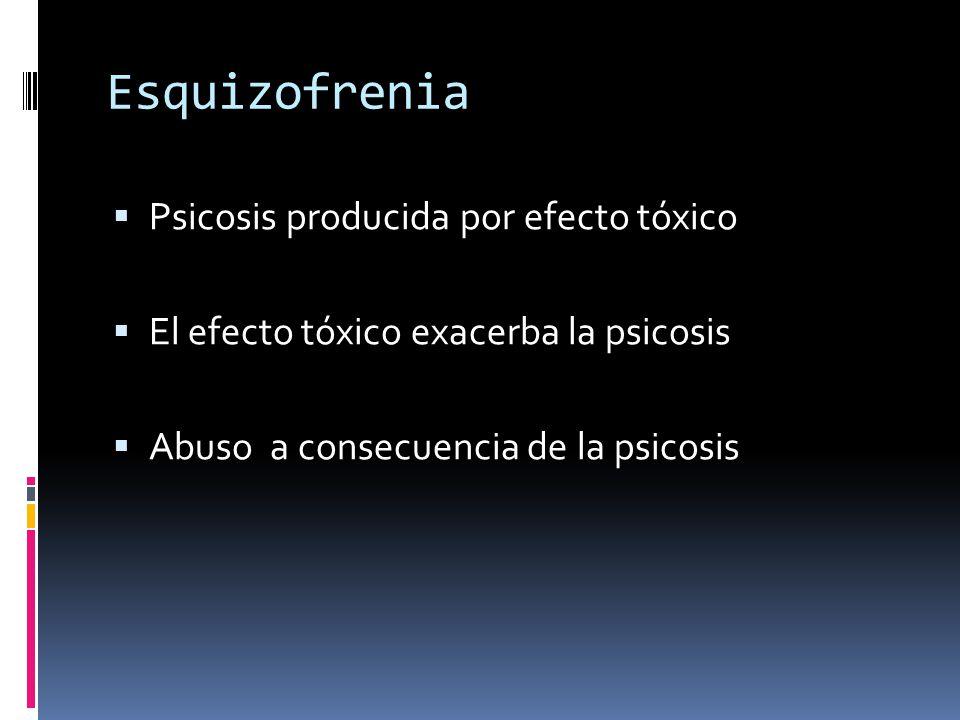 Esquizofrenia Psicosis producida por efecto tóxico