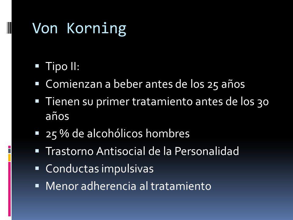 Von Korning Tipo II: Comienzan a beber antes de los 25 años