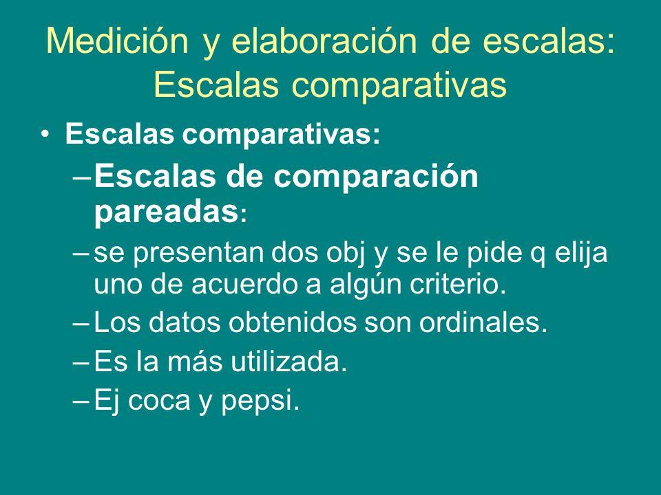 Medición y elaboración de escalas: Escalas comparativas