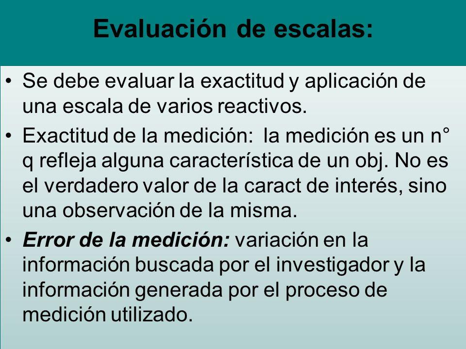 Evaluación de escalas: