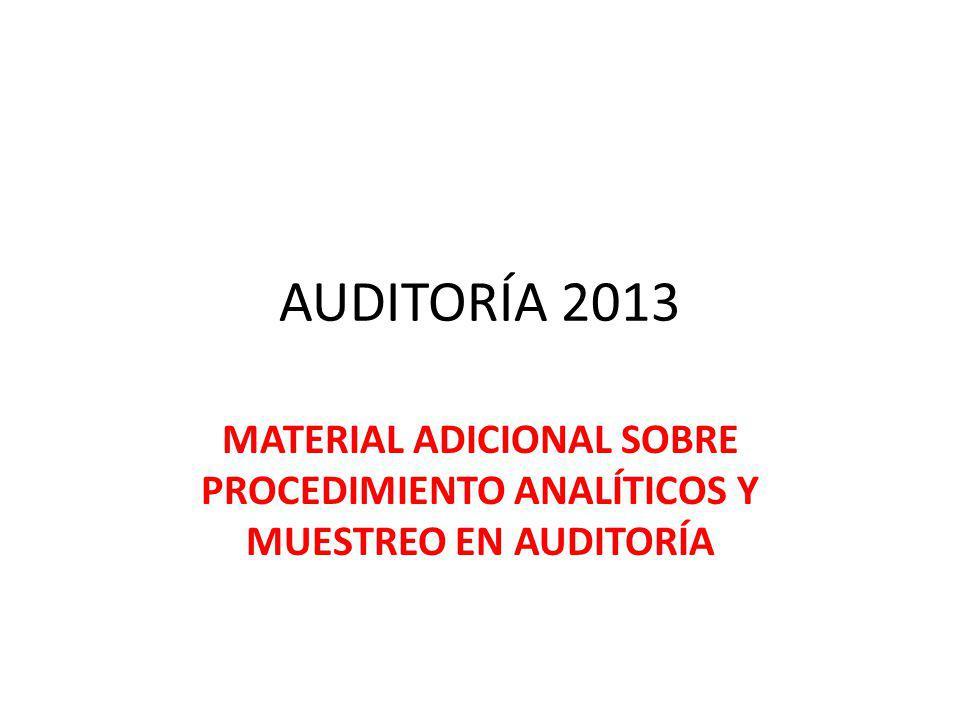 AUDITORÍA 2013 MATERIAL ADICIONAL SOBRE PROCEDIMIENTO ANALÍTICOS Y MUESTREO EN AUDITORÍA